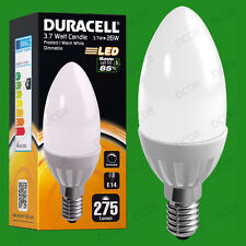 8x 3.7W Dimmable Duracell LED Pearl Candle Instant On Light Bulb SES E14 Lamp