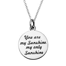 """Song Lyrics Your Are My Sunshine Smile Pendant 925 Sterling Silver 18"""" Necklace"""