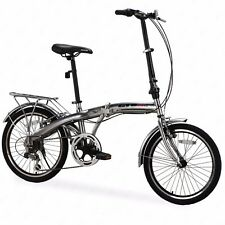 "Folding Bike 6 Speed Silver 20"" Bicycle Foldable Storage Shimano School Sports"