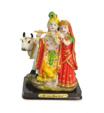 INDIAN HINDU RADHA KRISHNA WITH COW MURTI HINDU STATUE COLOURED