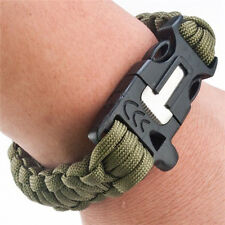 Outdoor Green Survival Bracelet Paracord Flint Fire Starter Scraper Whistle Gear