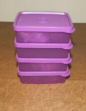 Tupperware SMALL Square-A-Way Containers SET OF 4 Purple NIP 6 oz.