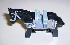 Used LEGO Black Horse & Sand Blue Saddle 2 Clips  SandBlue/Gold Tack and Blanket