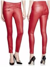 Hue Women's Sleek Stretch Deep Red Zippered Glossy Denim Leggings, Large