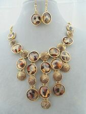 Gold With Leopard Spot Bib Necklace Earrings Set Fashion Jewelry NEW