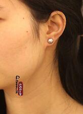 Boucles d`Oreilles Clous Perle de Culture Plate Argent 925 Violet 8mm-9mm
