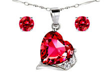 "Created Red Ruby Pendant Necklace & Earring Set 925 Sterling Silver w/ 18"" Chain"