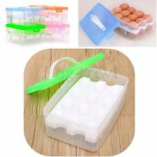 2-Layer 24 Holder Folding Kitchen Camping Plastic Egg Box Case Storage Container