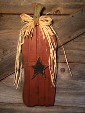 PRIMITIVE PUMPKIN HANGER WITH BLACK STAR/Country/Rustic/Halloween/Fall/Harvest