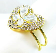 USA Bracelet gold silver rhinestone CRYSTAL statement heart love bangle cuff NEW