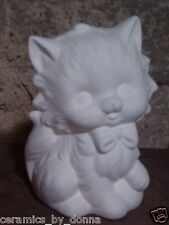 Fancy Cat ready to Paint Ceramic Bisque 5.5 inch Tall Lamp Addition table top