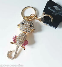 Gorgeous large gold tone - pink crystal cat - kitty hand bag charm - keyring