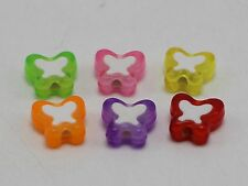 100 Mixed Candy Color Cute Acrylic Butterfly Beads 10mm White Butterfly Center
