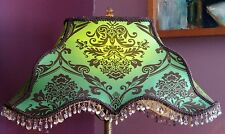 Simply Beautiful Lamp Shade. Iridescent Green with brown Flocking and beads.