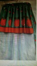 "Vintage Apron Half Size 30"" Waist Tie Green w/ Red Apples Very Nice!"