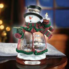 Thomas Kinkade Figurine - Holiday Lights Snowman New  Item 1513888002 COA