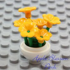 NEW Lego Friends Minifig WHITE FLOWER POT Yellow Pansy Flowers Green Plant Stems