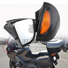 Pair Black Rearview Side Mirrors Amber Turn Signal For BMW RT R1100 RTP R1150 RT