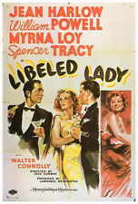LIBELED LADY Movie POSTER 27x40 B Jean Harlow William Powell Myrna Loy Spencer