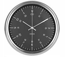 Karlsson NAUTICAL WALL CLOCK Stainless Steel BLACK FACE Silent 30cm