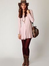 RARE Free People Pink Thermal Dress with Battenberg Lace Size Small S
