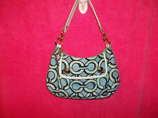 COACH POPPY GROOVY 3D OP ART BLUE & WHITE SMALL HOBO SHOULDER BAG A1026-14982