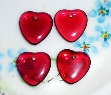 Vintage Glass Heart Drops Charms Dangles Beads Cranberry Hearts Lot NOS #1027S