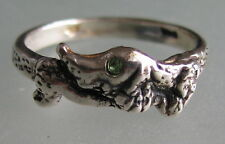 Dachshund Ring dog Excellent Quality with crystal unusual silver plated 7,5