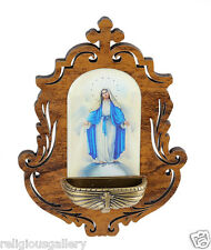 Lady of Grace Wood Holy Water Font