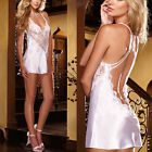 Sexy Nightwear Lace Lingerie Dress Women's Underwear Babydoll Sleepwear white