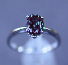 14K White Gold 8 x 6MM Chatham® Created Alexandrite Solitaire Engagement Ring 6