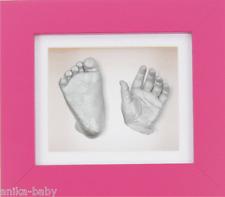 New Baby Girl 1st Birthday Gift Set 3D Cast Kit Silver Hand/Feet Cast Pink Frame