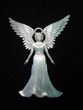 """JJ"" Jonette Jewelry Silver Pewter ' Lovely ANGEL Spread WINGS ' Pin"