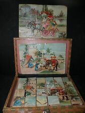 ANTIQUE GERMAN TOY WOOD PICTURE BLOCKS in box WITH ZEPPELIN