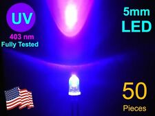 50 X High Quality 5mm UV LED 402-405nm, 100% sorted.  USA Seller, Free Shipment