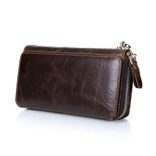 Large Capacity Card Case Mens Genuine Leather Handbag Check Book Clutch Wallet