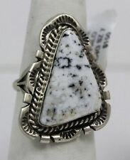 Navajo Indian Ring White Buffalo Turquoise Size 7 Sterling Silver Augestine Larg