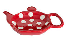 Dexam Polka Dot Ceramic Teabag Holder, Red Tea Bag Tidy Coaster Rest Stoneware