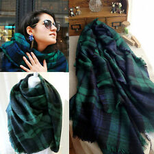 Unisex Oversized Square Tartan Shawl Plaid Checkered Blanket Scarf Zara Green