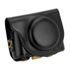 Detachable Leather Camera Case Bag Cover Protector + Strap for Sony HX90 Black