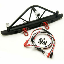 1/10 RC Crawler Metal Rear Bumper with Spare Tire Carrier LED for Axial SCX10