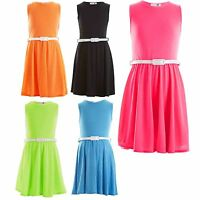 Girls Skater Dress Kids Neon Bright Holiday Party Dresses 7 8 9 10 11 12 13 Year