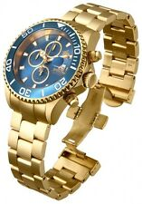 New Men's Invicta 18005 Sea Base Swiss Chrono Blue Dial Gold Plated Steel Watch