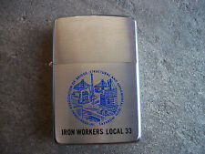 vintage 1969 Iron Workers Local 33 Union IA of BSOIW Zippo Lighter