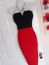 **STUNNING** AX PARIS SIZE 10 RED BLACK STRAPLESS BODYCON DRESS *FAST POSTAGE*