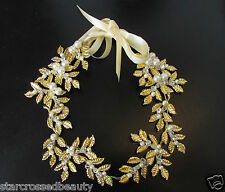 Gold ivory pearl leaf coiffure bridal bandeau roman cheveux couronne grecian vtg R05