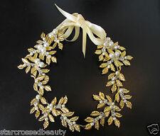 Gold ivory pearl leaf coiffure bridal bandeau roman cheveux couronne grecian vtg R05