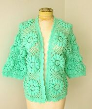 MINTY Vtg 60s Mod Jadite Green Crochet by Hand Big 3D Flowers Cardigan Sweater M