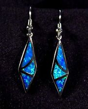 "Sterling 925 Silver SF Hook Earrings Blue Lab Fire Opal GEOMETRIC 1 3/8"" Drop"