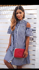 PRIMARK ATMOSPHERE GINGHAM BLUE & WHITE COLD SHOULDERS SHIRT DRESS SIZE 18/46